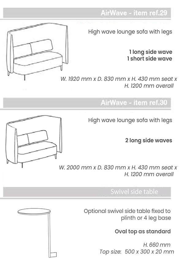 Dimensions Airwave 29-30 + Side Table