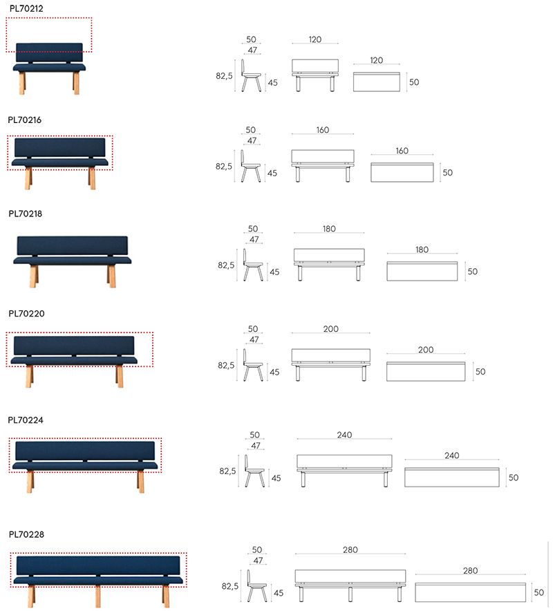 Bench with Backrest Dimensions